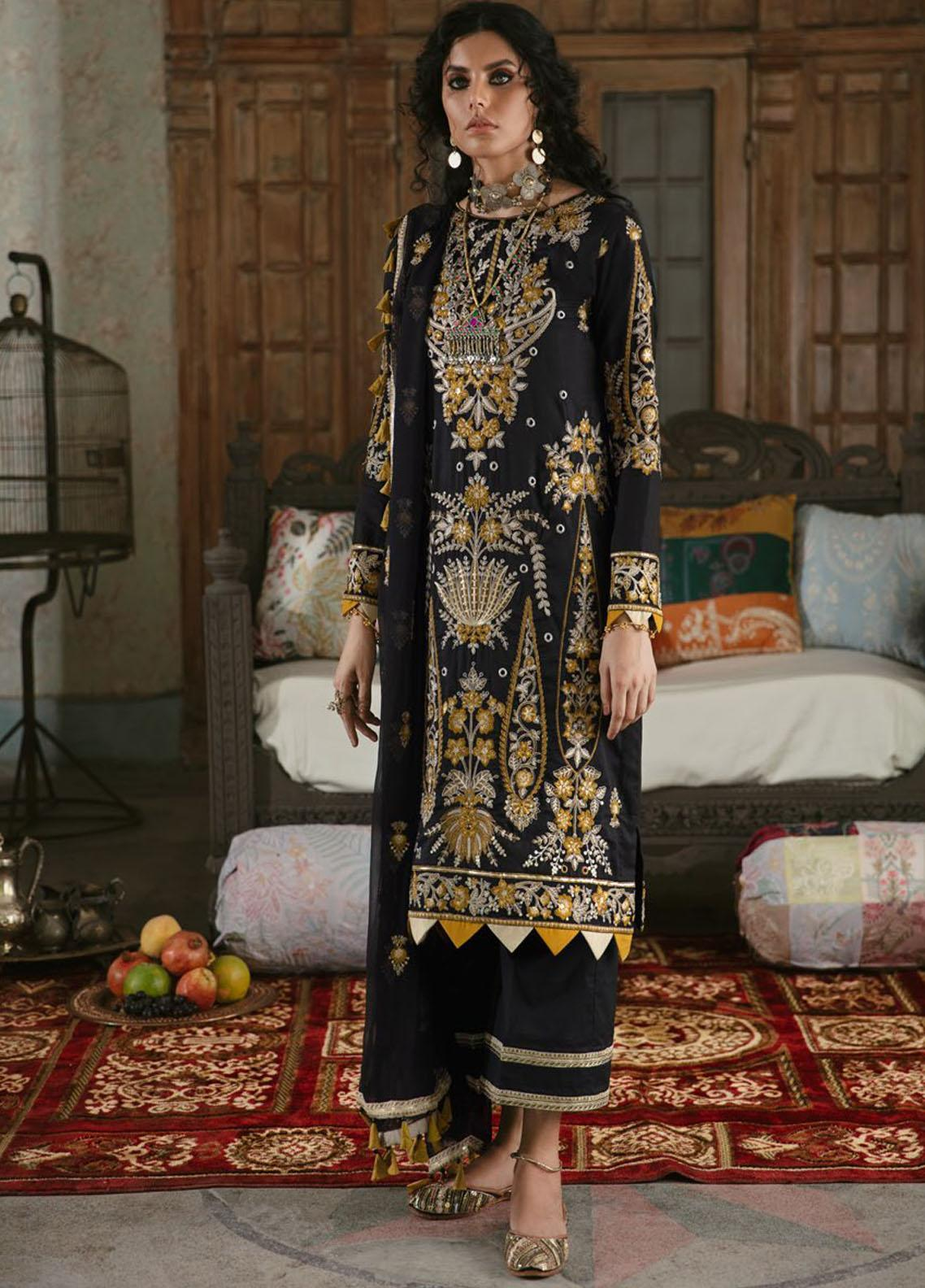 Wasiyat by Motifz Embroidered Cotton Satin Suits Unstitched 3 Piece MT21W MWUA-3028 MINHA-A - Winter Collection