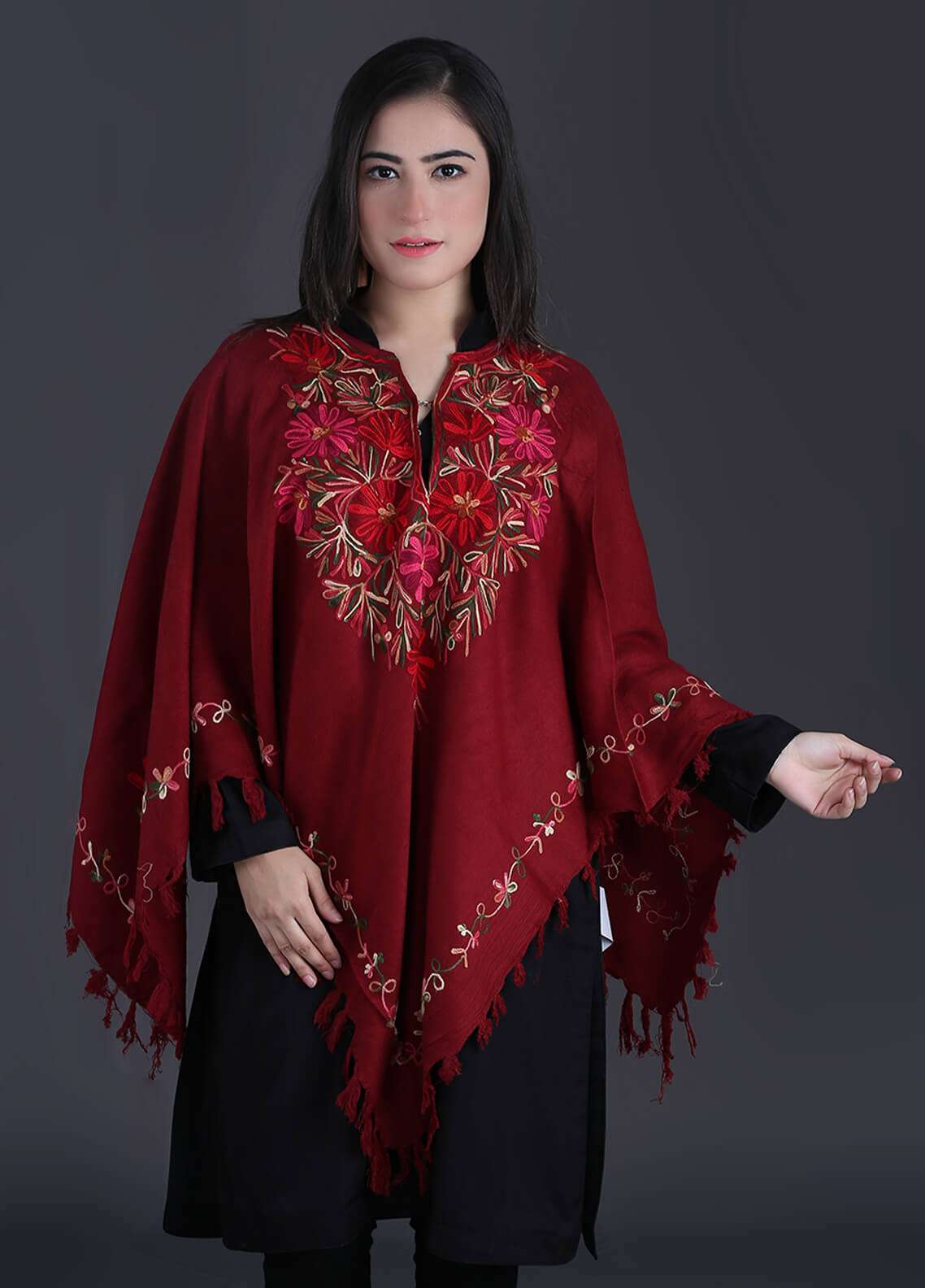 Sanaulla Exclusive Range Embroidered Pashmina Free Size Ponchos 07 - Winter Collection