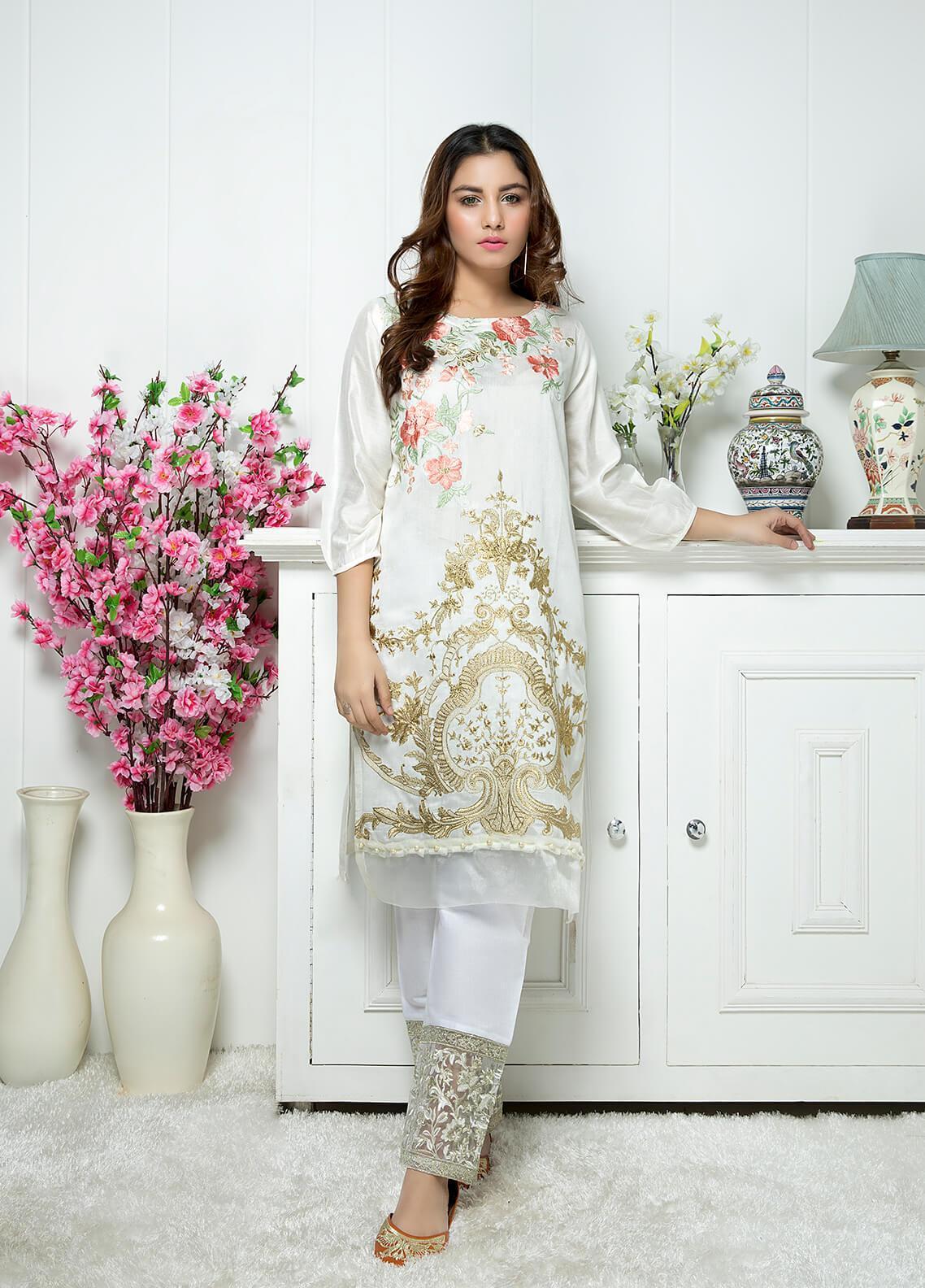 Festive Casual Khaadi Net Stitched Kurtis F19WE108 White