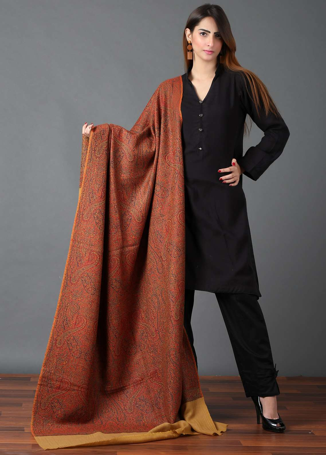 Sanaulla Exclusive Range  Jamawar Weaved Shawl 588 - Winter Collection