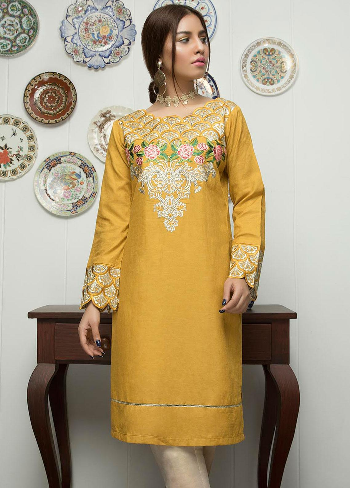 Festive Embroidered Lawn Stitched Kurtis F19SE2143 Rust