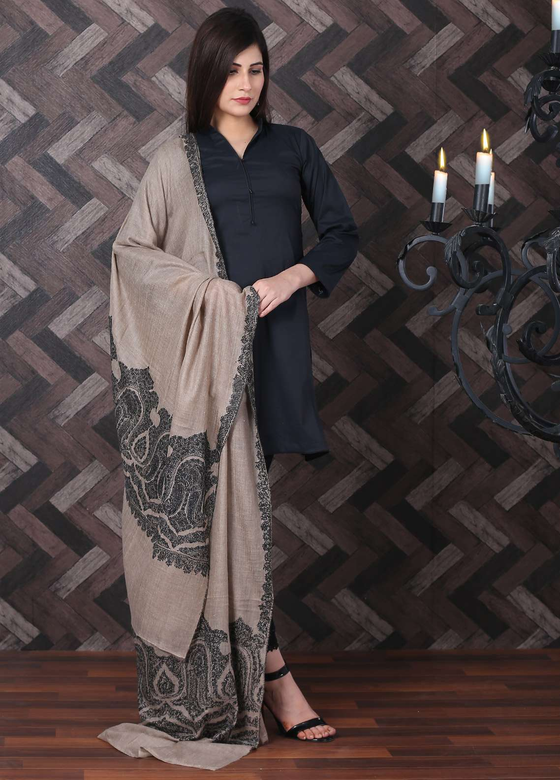 Sanaulla Exclusive Range Embroidered Pashmina  Shawl AKP-18 Brown - Pashmina Shawls