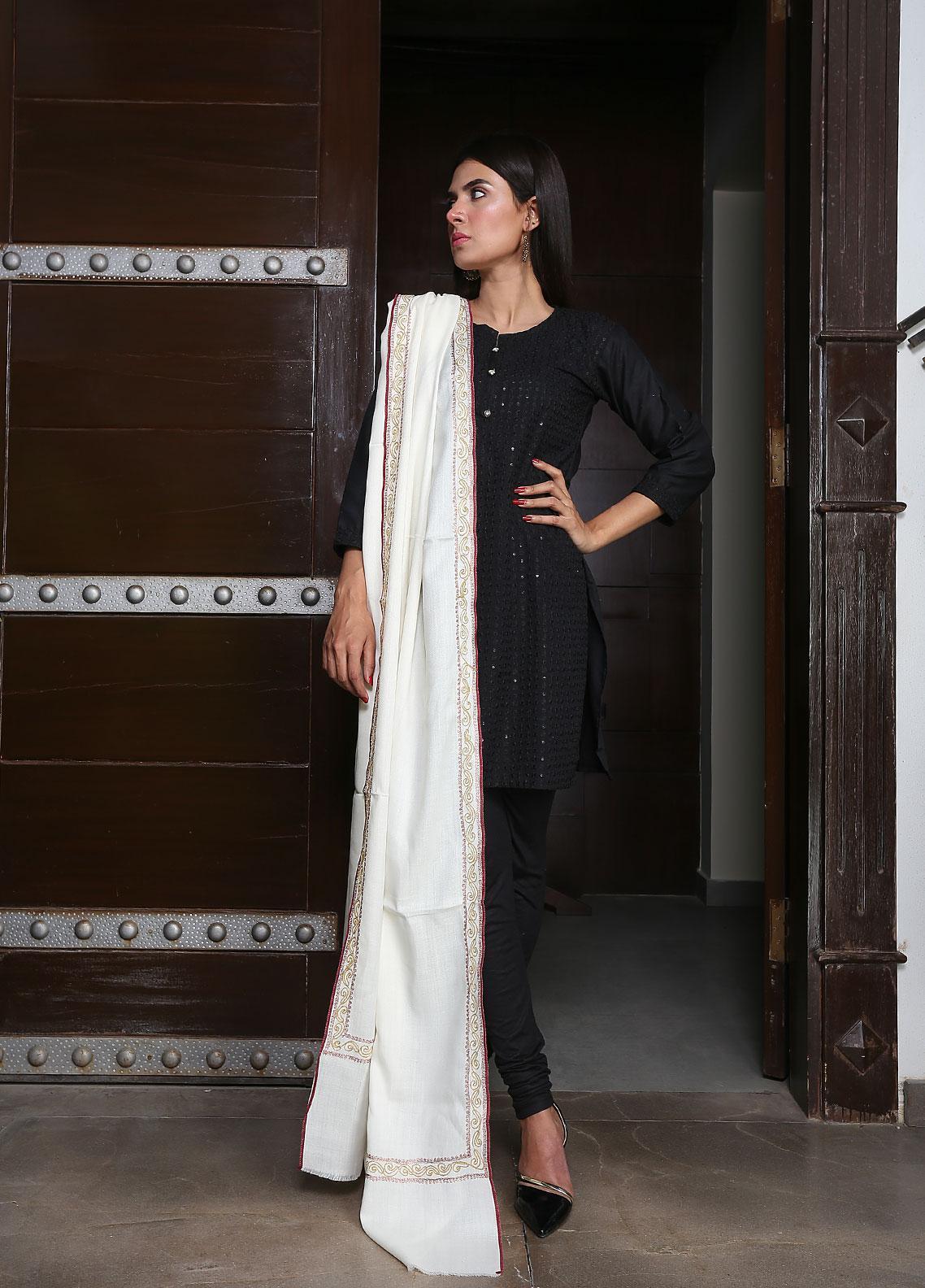 Sanaulla Exclusive Range Embroidered Pashmina  Shawl 19-MIR-151 Off White - Kashmiri Shawls