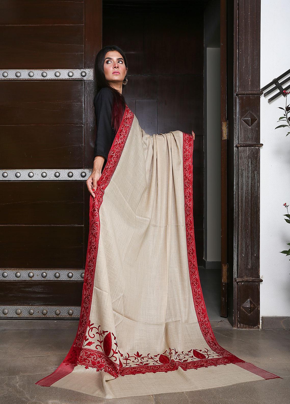 Sanaulla Exclusive Range Embroidered Pashmina  Shawl 19-MIR-196 Fawn - Kashmiri Shawls