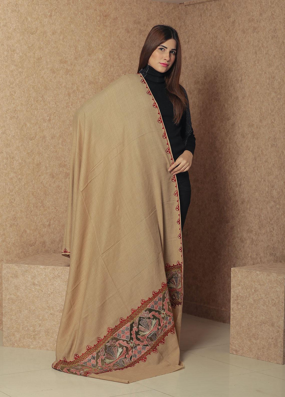 Sanaulla Exclusive Range Embroidered Pashmina  Shawl 19-MIR-363 Fawn - Kashmiri Shawls