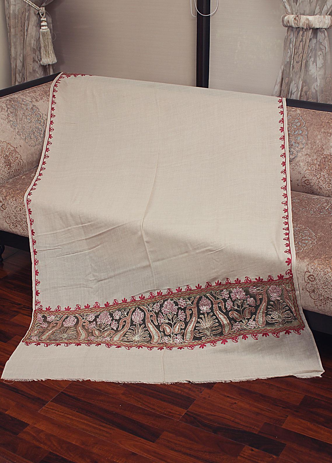 Sanaulla Exclusive Range Cut Work Embroidered Pashmina  Shawl 19-MIR-366 Fawn - Kashmiri Shawls