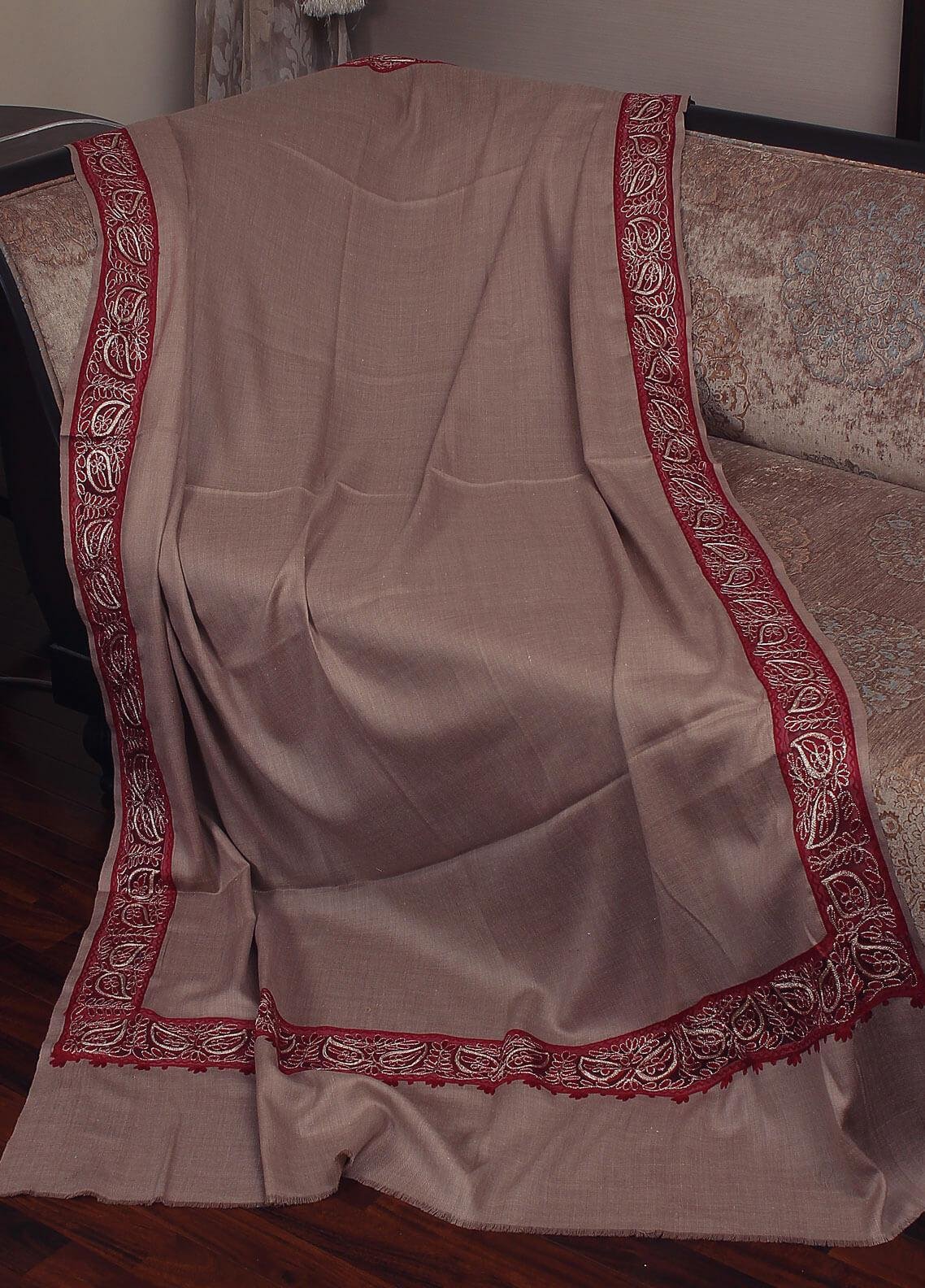 Sanaulla Exclusive Range Cut Work Embroidered Pashmina  Shawl 19-MIR-368 Brown - Kashmiri Shawls