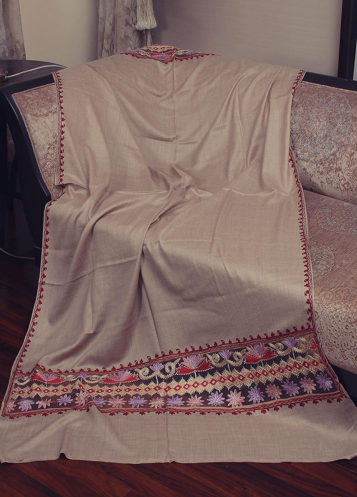 Sanaulla Exclusive Range Cut Work Embroidered Pashmina  Shawl 19-MIR-380 Beige - Kashmiri Shawls