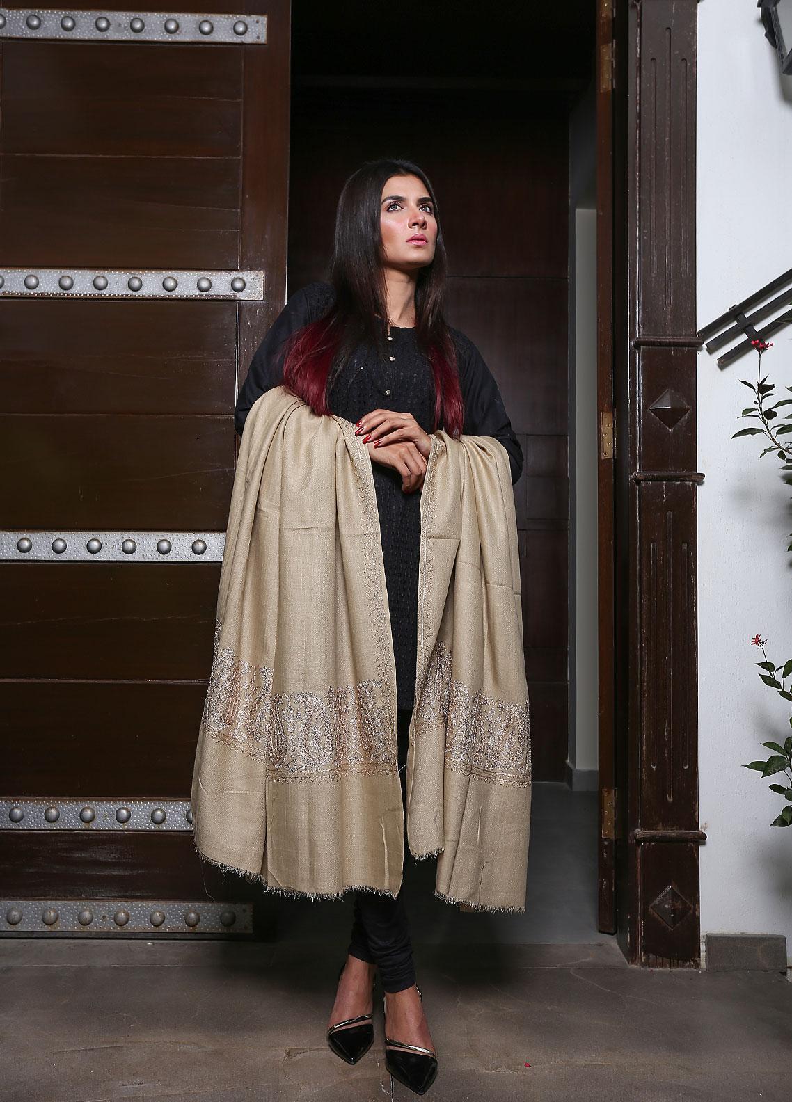 Sanaulla Exclusive Range Embroidered Pashmina  Shawl 19-MIR-95 Beige - Kashmiri Shawls