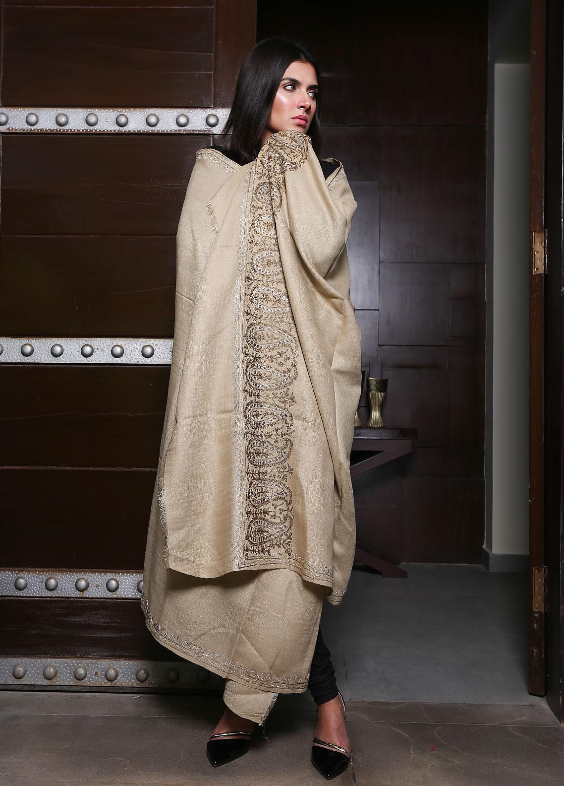 Sanaulla Exclusive Range Embroidered Pashmina  Shawl 19-MIR-96 Beige - Kashmiri Shawls