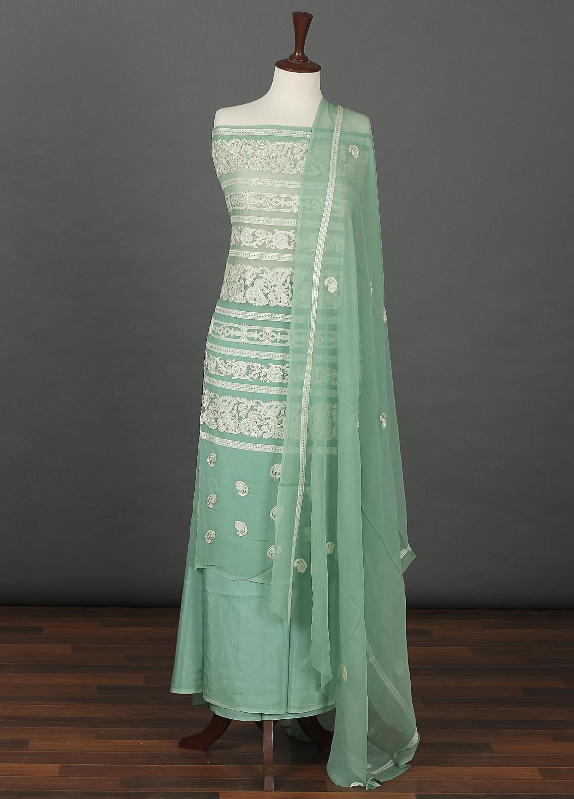 Sanaulla Exclusive Range Embroidered Chiffon Unstitched 3 Piece Suit SER19C 09 Green - Luxury Collection