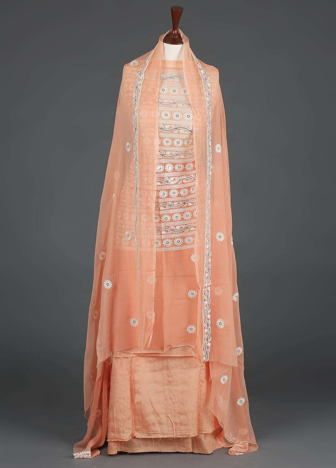 Sanaulla Exclusive Range Embroidered Chiffon Unstitched 3 Piece Suit SER19C 17 Orange - Luxury Collection