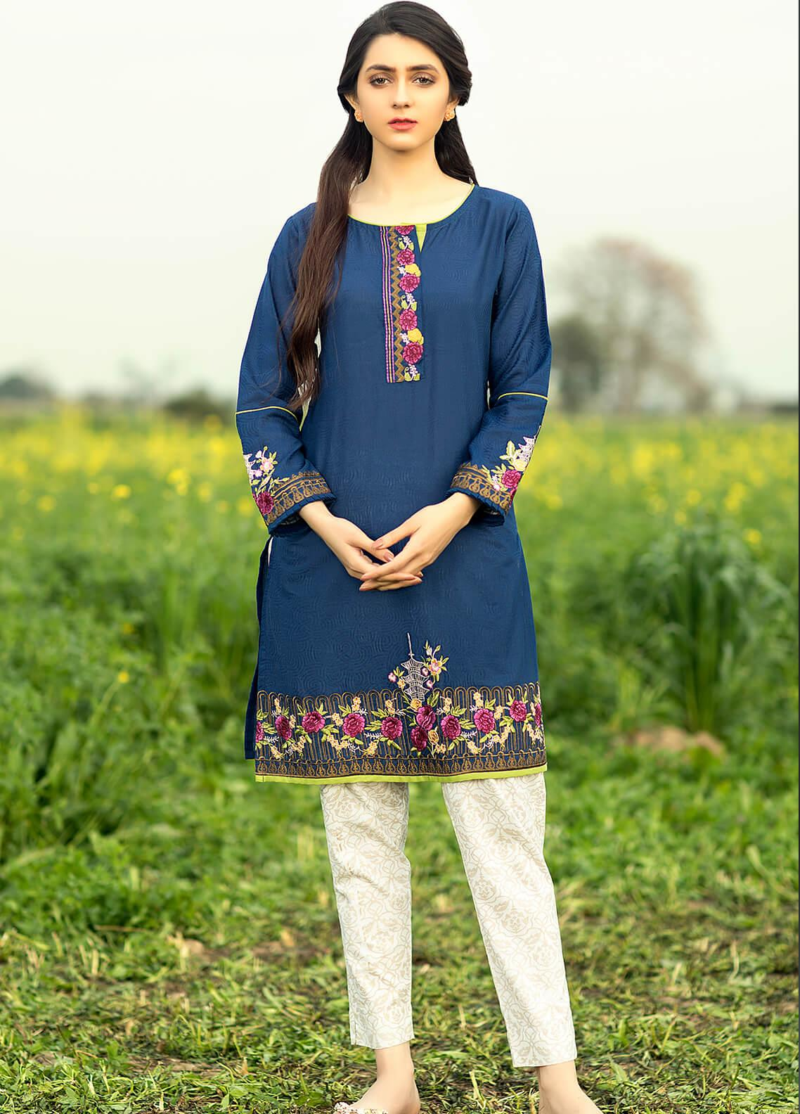 Festive Embroidered Lawn Stitched Kurtis F19SE127 Navy