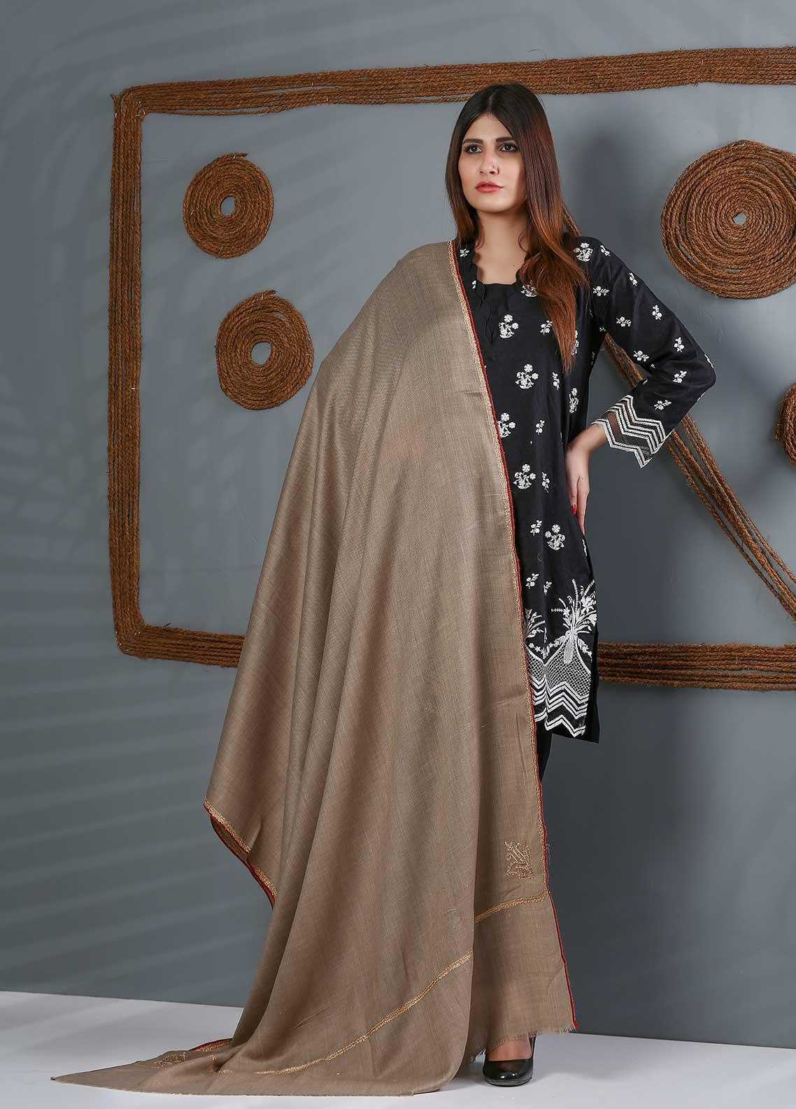 Sanaulla Exclusive Range Embroidered Woolen  Shawl SU21WS 334202 - Woolen Shawls
