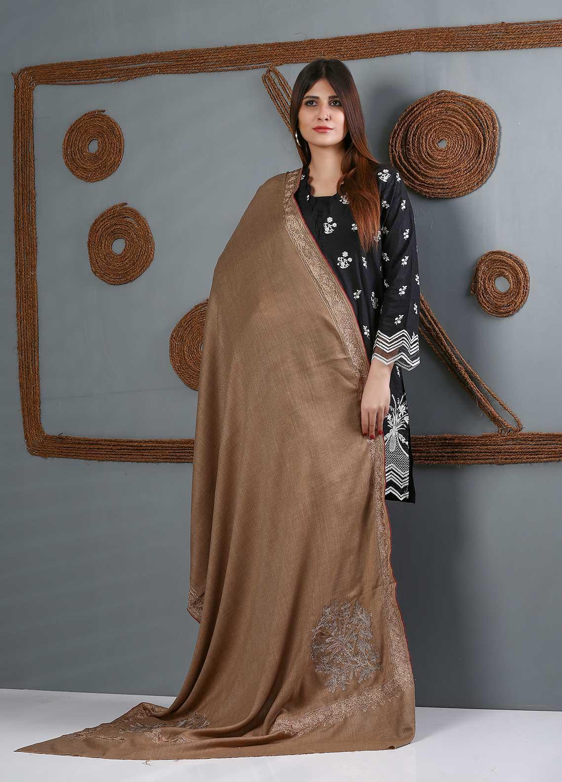 Sanaulla Exclusive Range Embroidered Woolen  Shawl SU21WS 334233 - Woolen Shawls