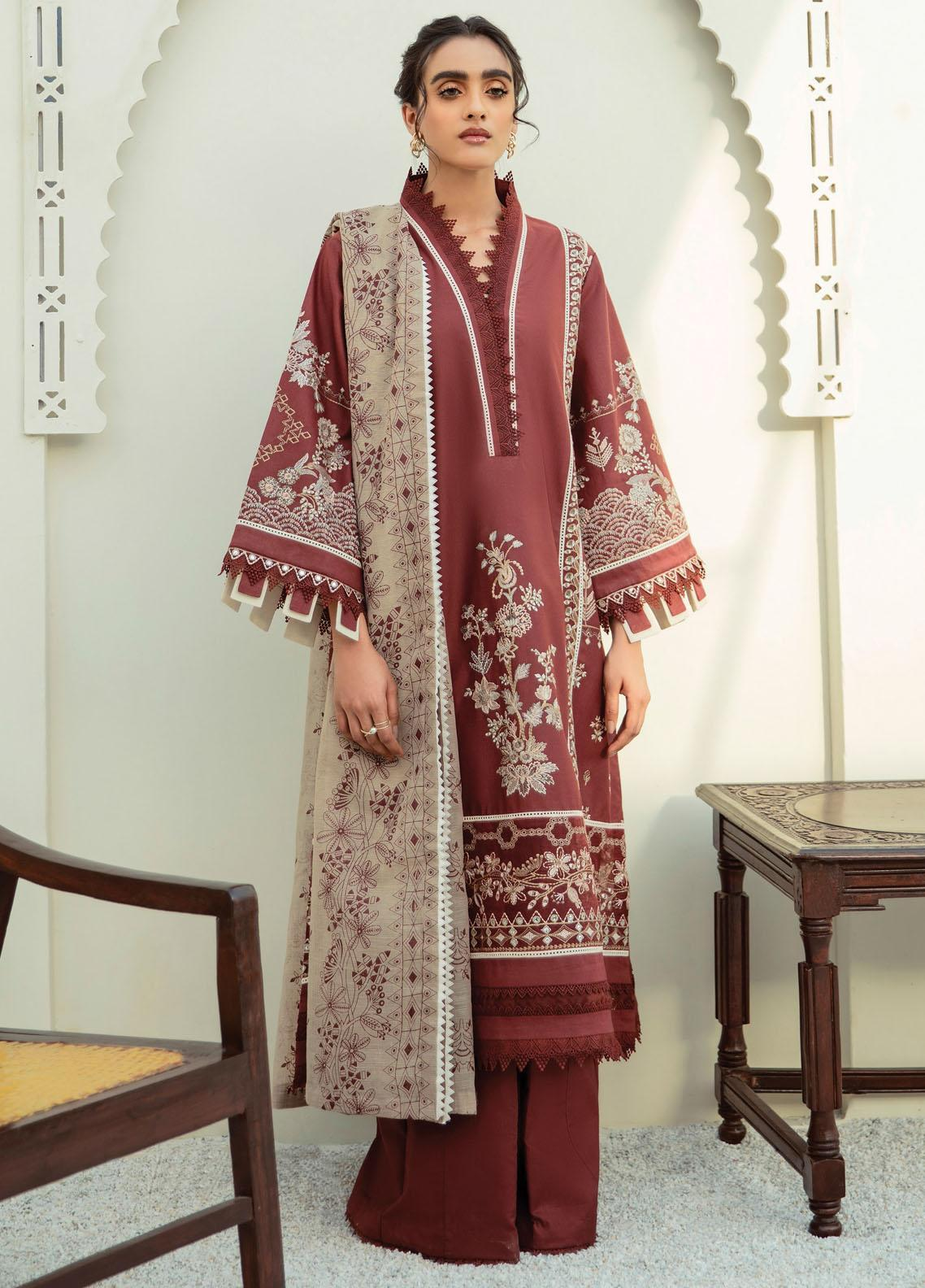 Xenia Formals Embroidered Lawn Suits Unstitched 3 Piece XE21M D-02 IMHAL - Summer Collection