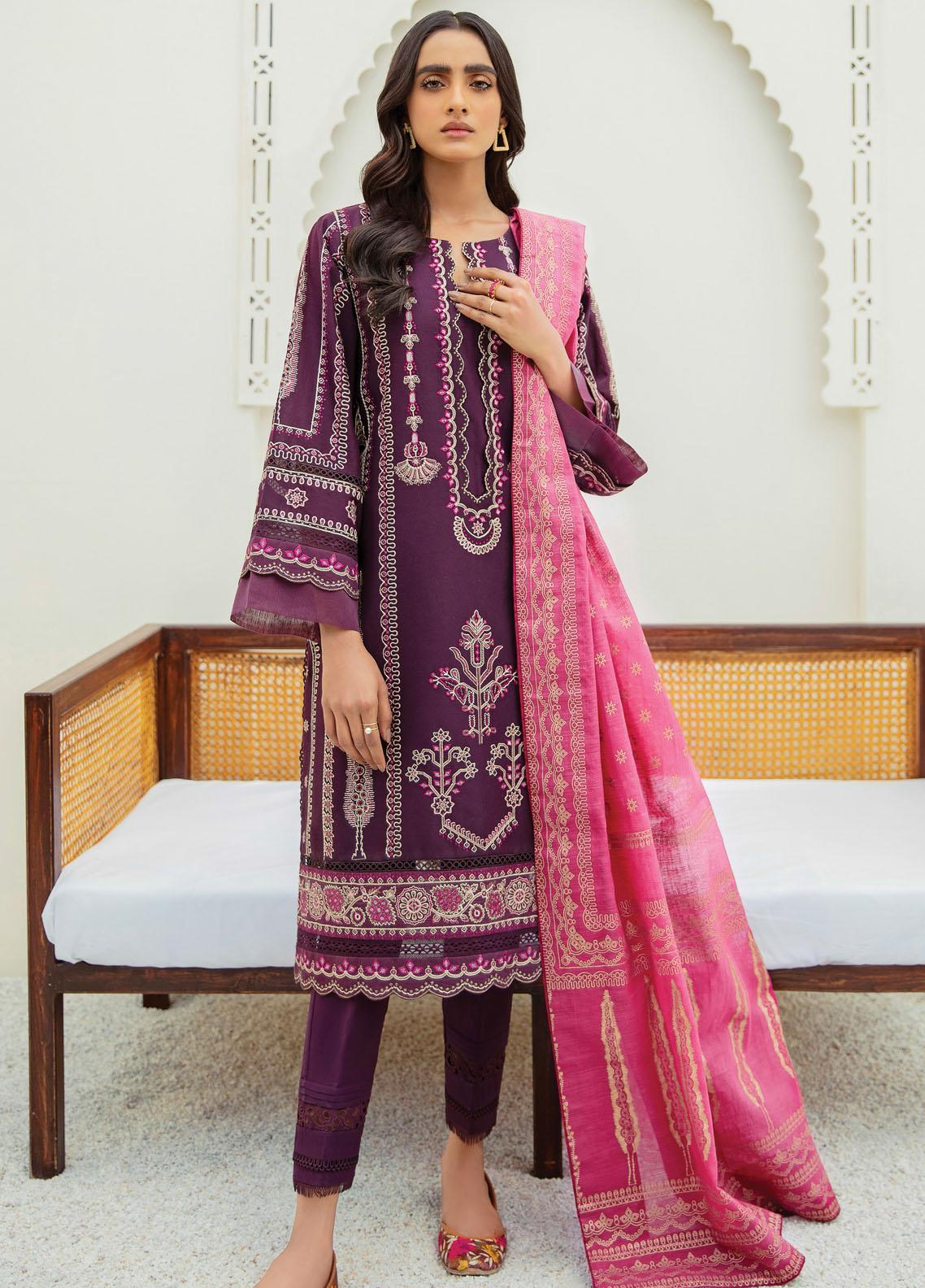 Xenia Formals Embroidered Lawn Suits Unstitched 3 Piece XE21M D-07 AYNUR - Summer Collection