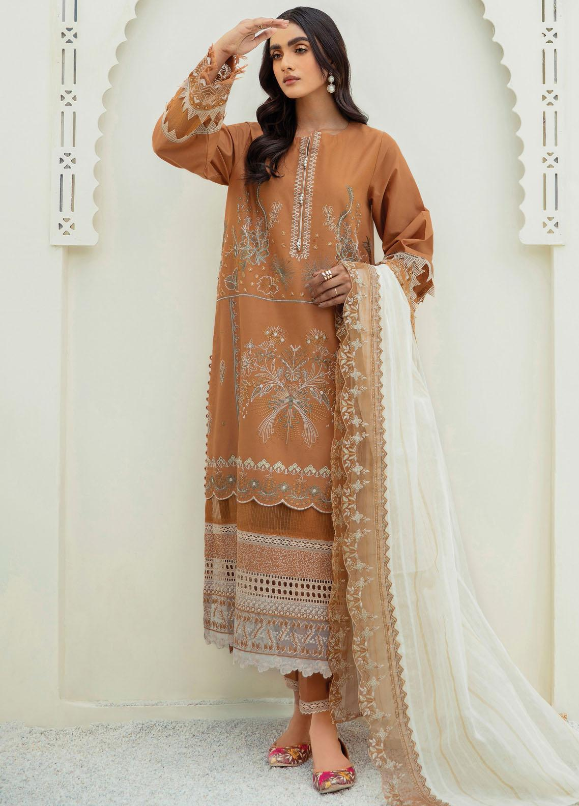 Xenia Formals Embroidered Lawn Suits Unstitched 3 Piece XE21M D-08 KUBRA - Summer Collection