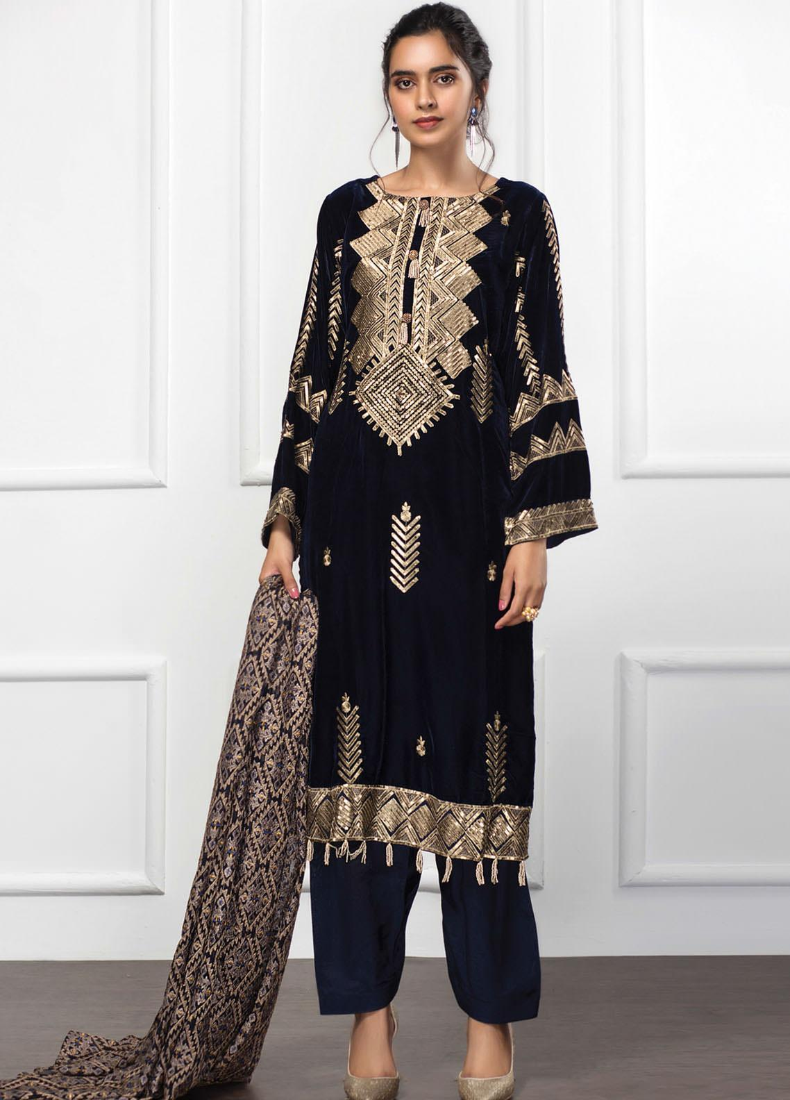 XENIA Formals Embroidered Velvet Stitched 3 Piece Suit XE20V 04 SEYAL