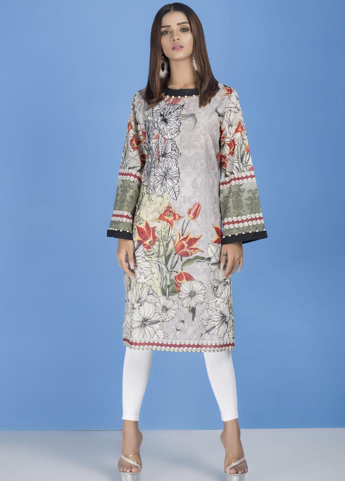 Yusra Ansari Embroidered Lawn Stitched Kurti YA20EF YA-01 Harbour Grey