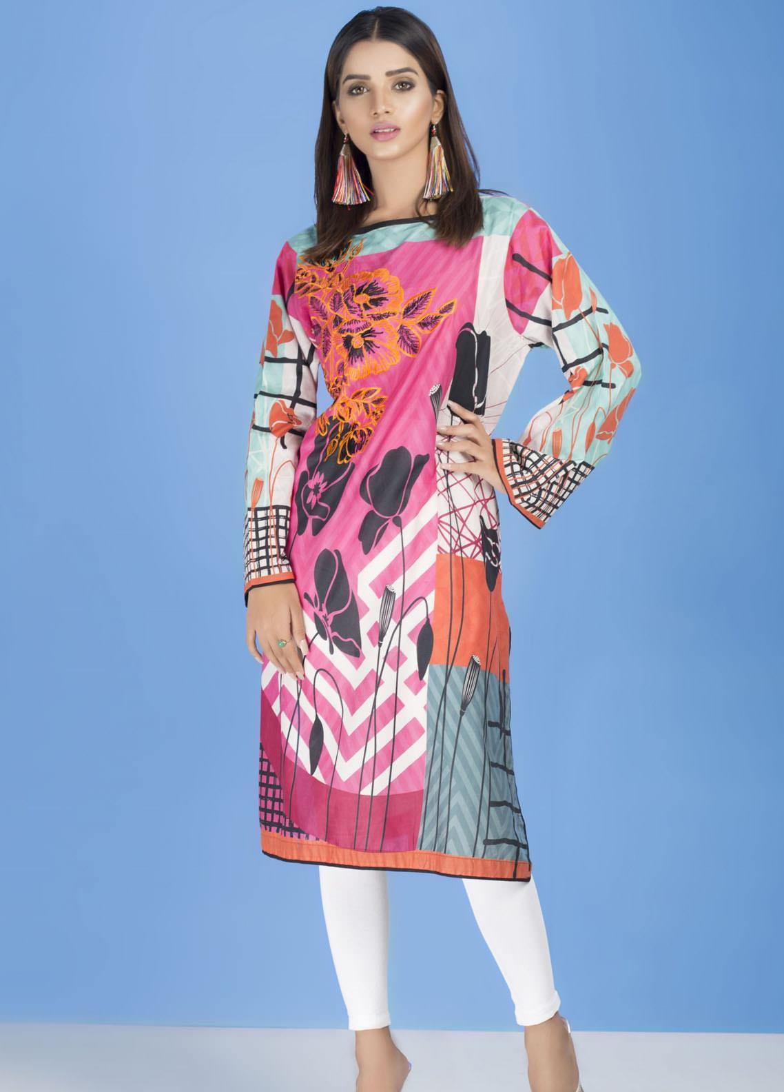 Yusra Ansari Embroidered Lawn Stitched Kurti YA20EF YA-02 Vintage Flora