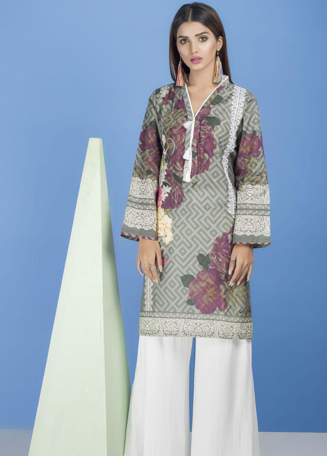 Yusra Ansari Embroidered Lawn Stitched Kurti YA20EF YA-04 Vessel Grey