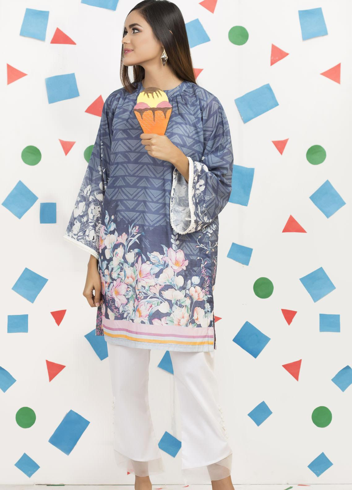 Yusra Ansari Fancy Lawn Stitched Kurti YA20M Ye-05 (Twinkling Spark)