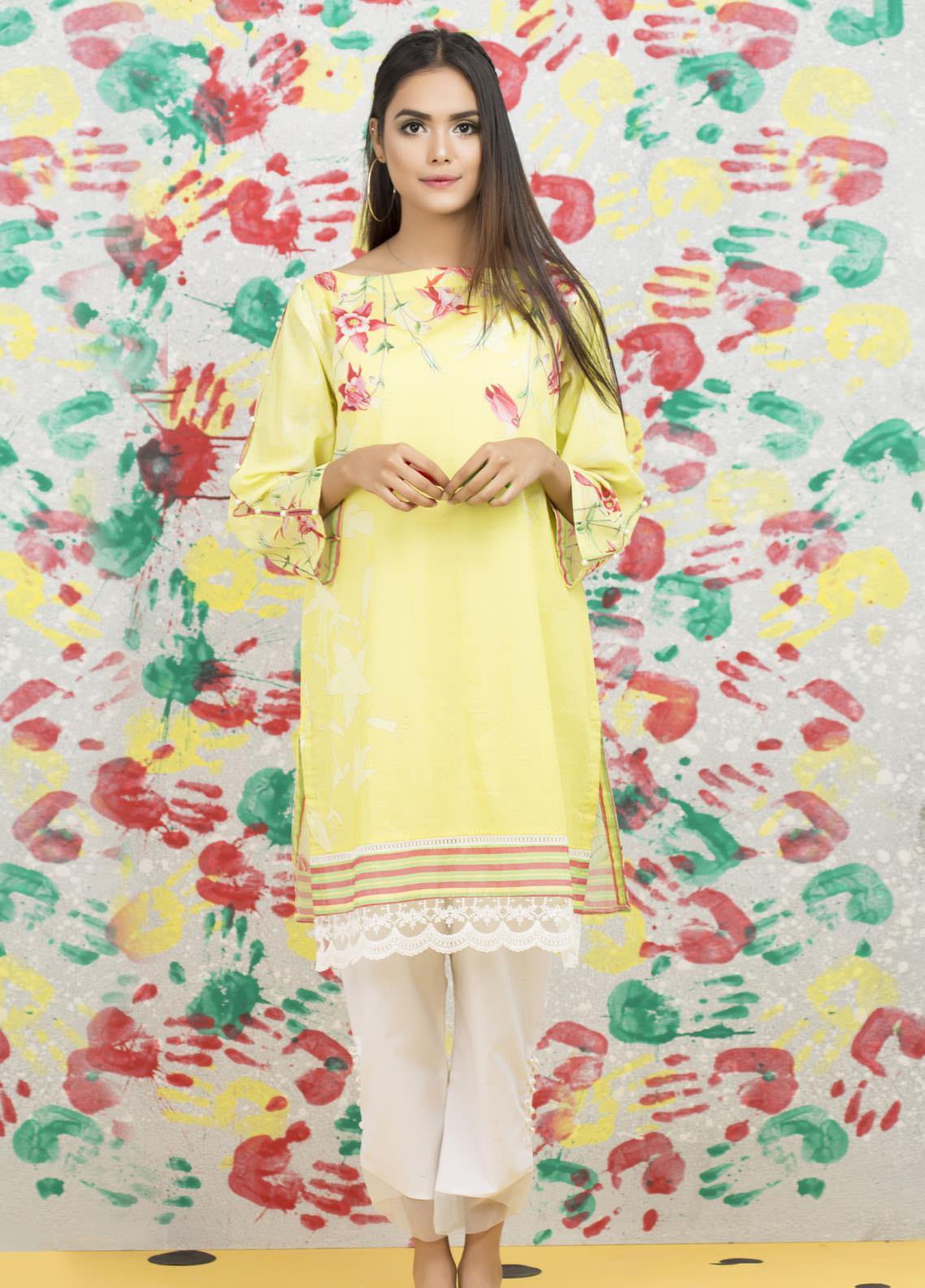 Yusra Ansari Fancy Lawn Stitched Kurti YA20M Ye-10 (Lemonista)
