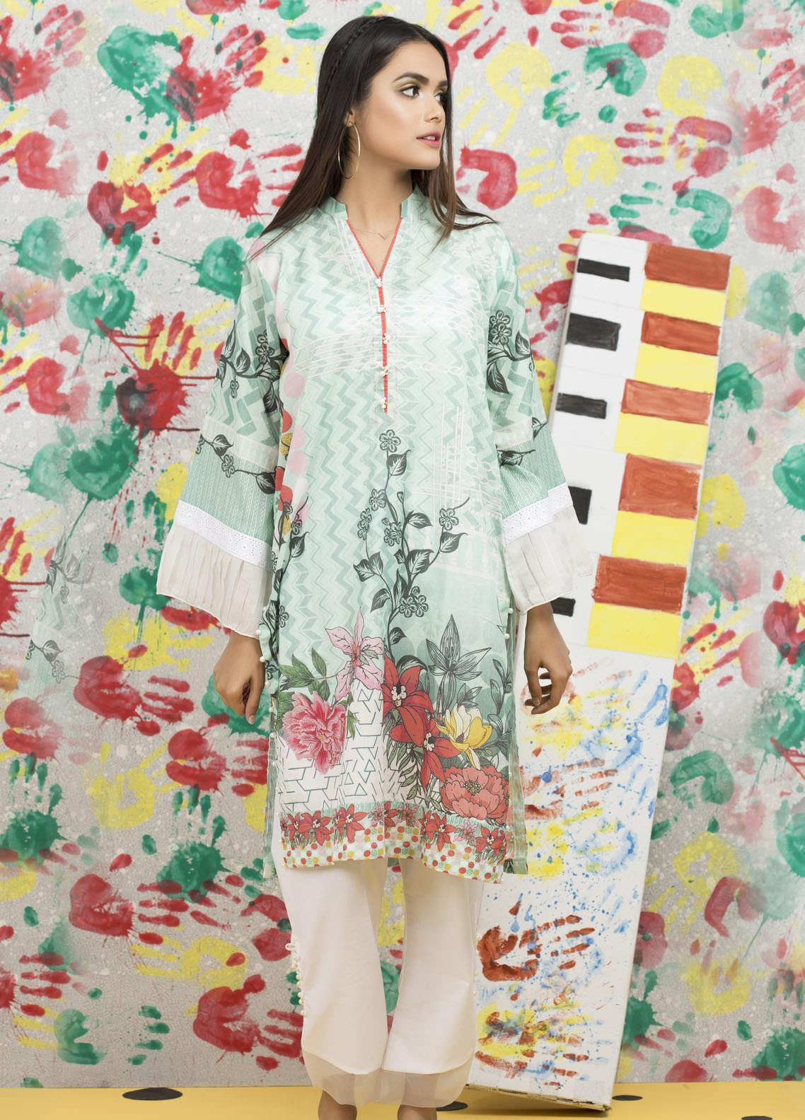 Yusra Ansari Fancy Lawn Stitched Kurti YA20M Ye-11 (Mint Affair)