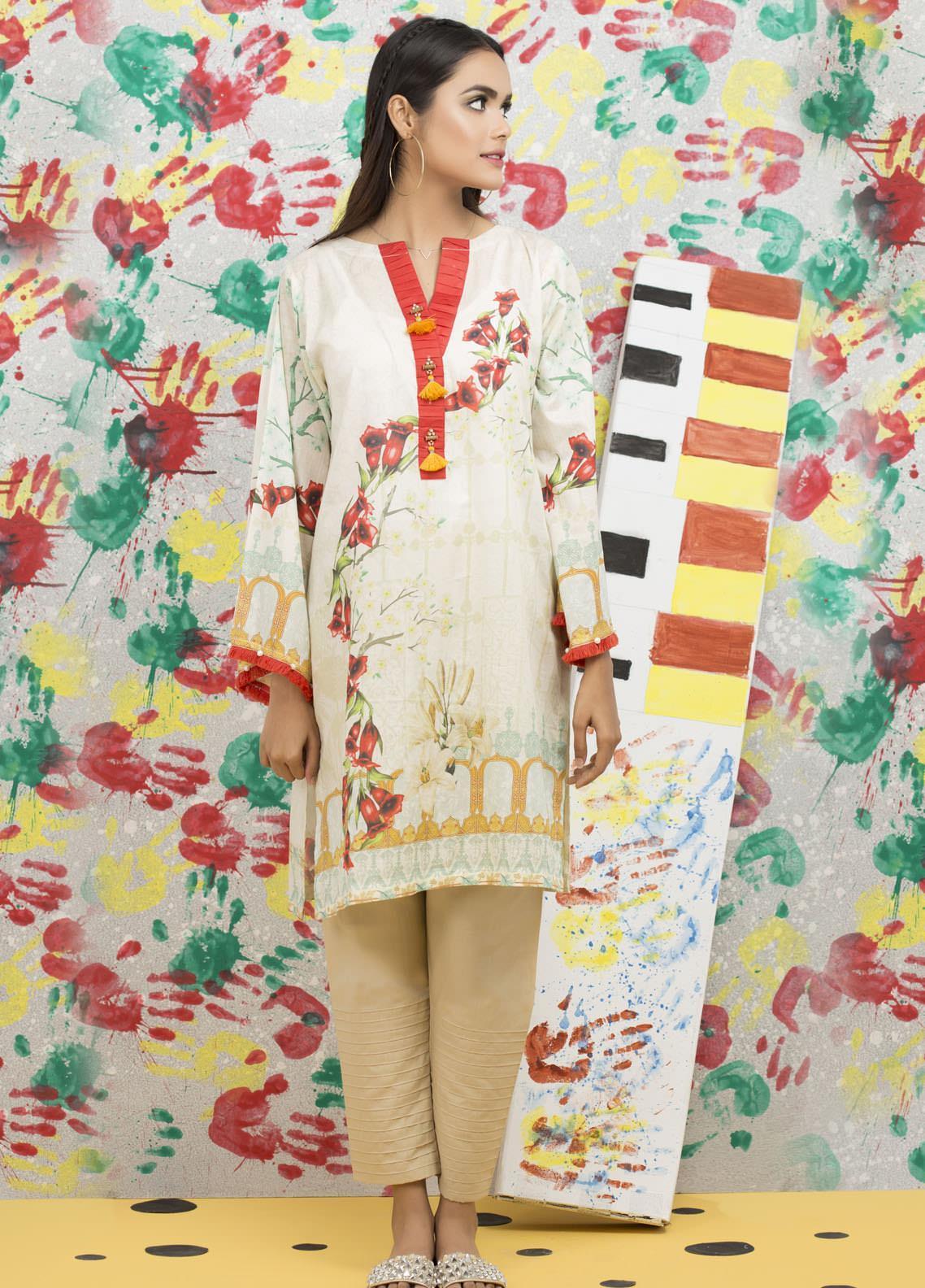 Yusra Ansari Fancy Lawn Stitched Kurti YA20M Ye-12 (Floral Bareeze)