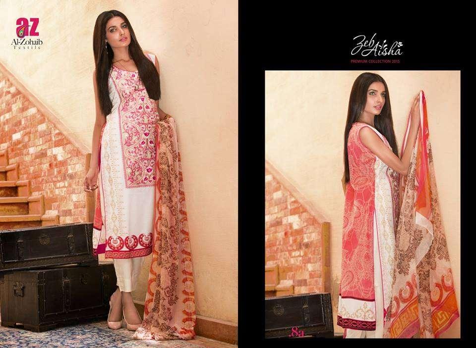 Al Zohaib Embroidered Lawn Unstitched 3 Piece Suit ZA PL 8A