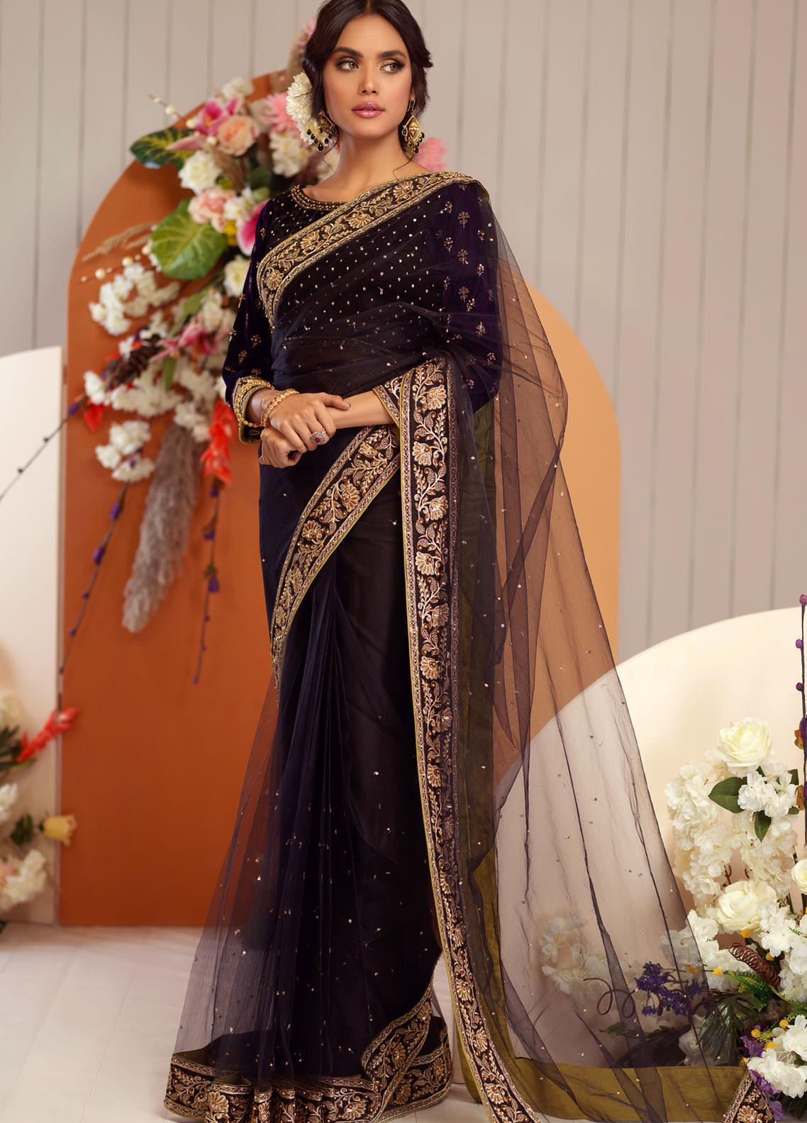 Zaaviay Embroidered Velvet Stitched Saree ZV20BM 22 KINARA