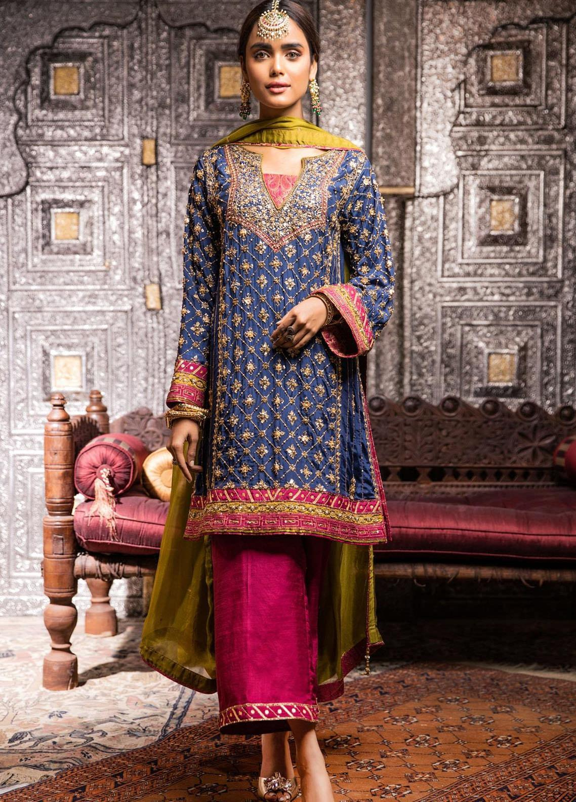 Zaaviay Embroidered Raw Silk Stitched 3 Piece Suit ROSHAN