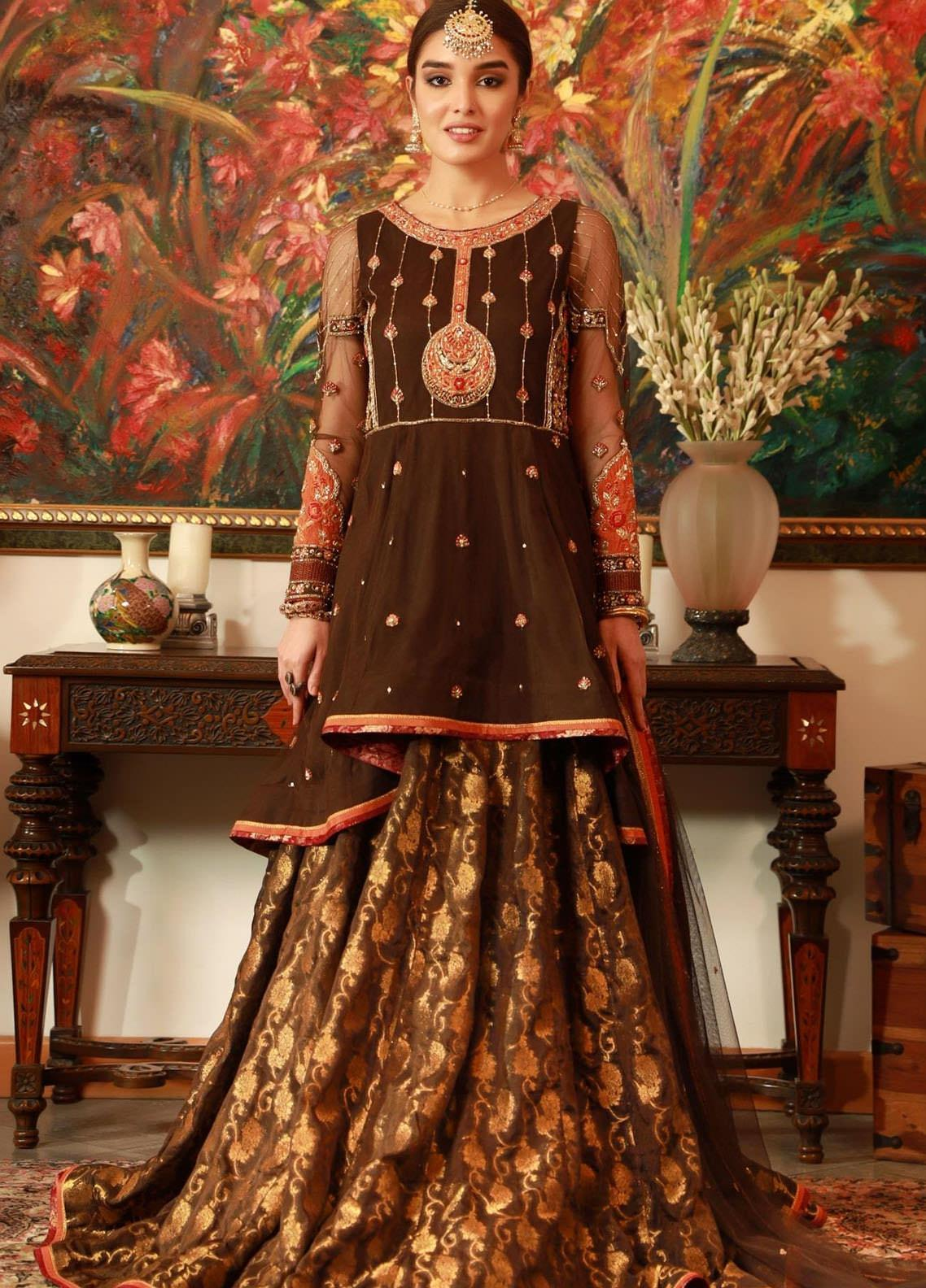 Zaaviay Embroidered Net Stitched 3 Piece Suit DHOL BAJE