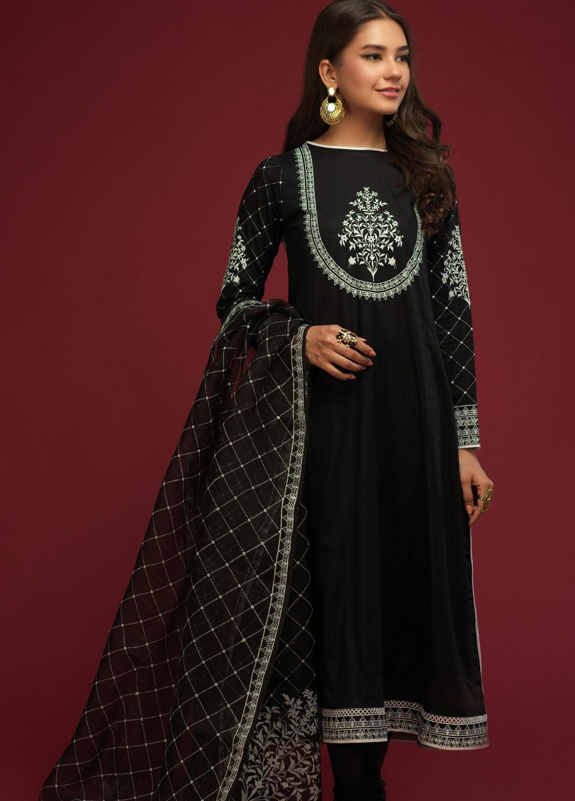 Zaaviay Screen Print Cotton Stitched 3 Piece Suit 004 BLACK FOREST