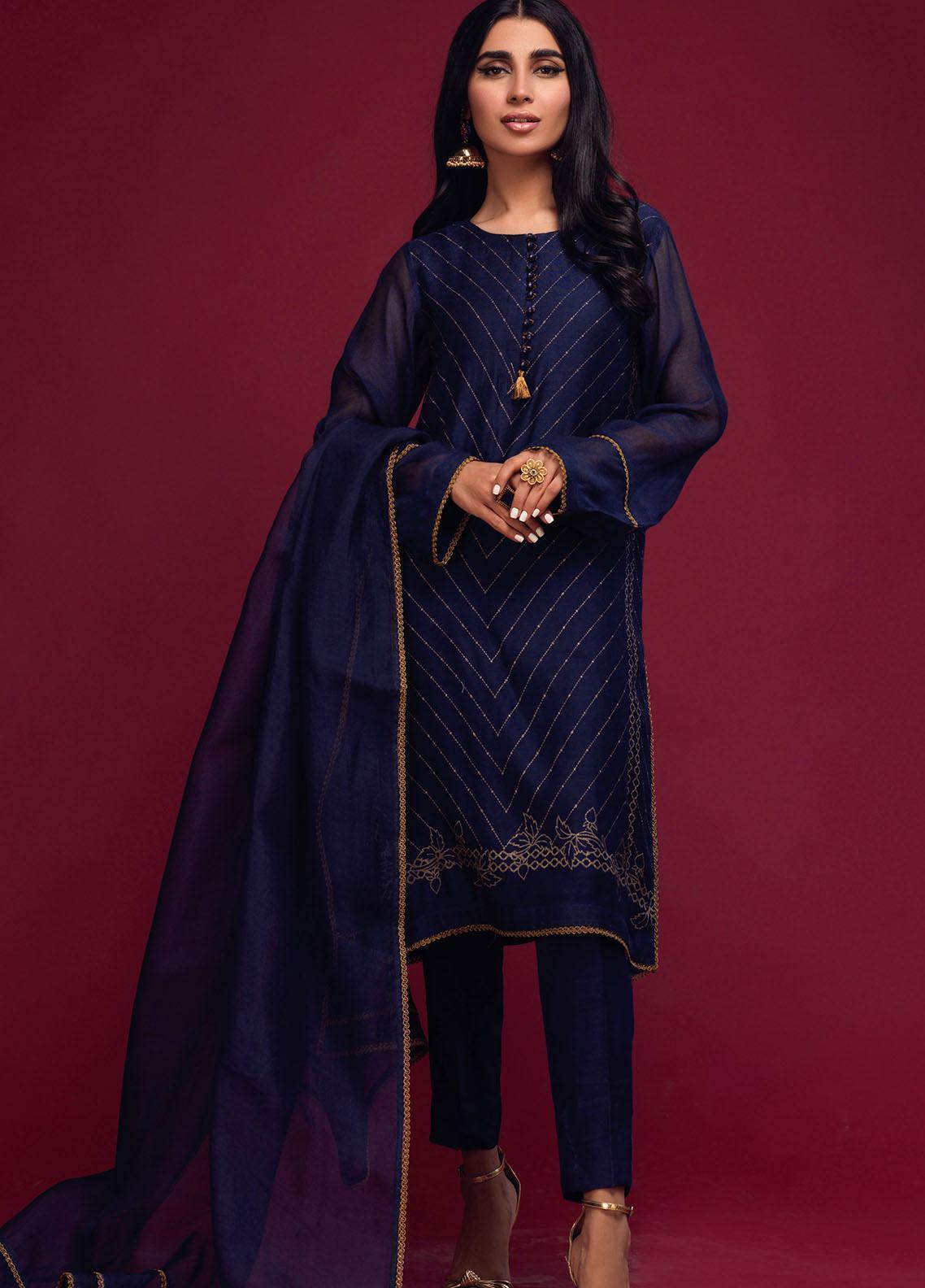 Zaaviay Screen Print Khaadi Net Stitched 3 Piece Suit 011 DEEP SEA