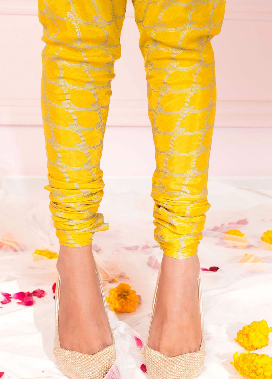 Zaaviay Fancy Raw Silk Stitched Trousers ZSC-030 LIME YELLOW RAW SILK CHURIDAAR