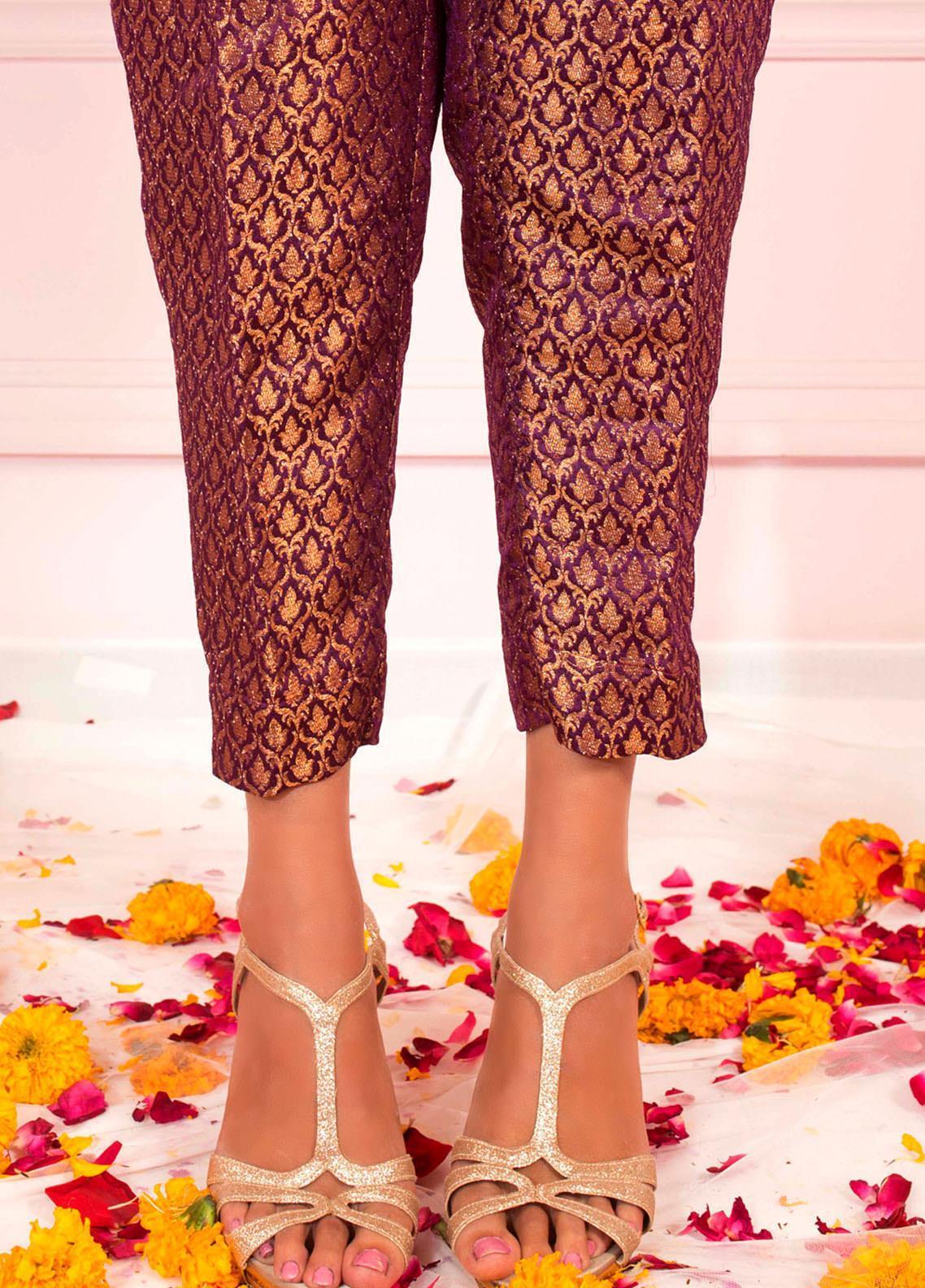 Zaaviay Fancy Banarsi Stitched Trousers ZSC-031 PLUM BANARSI STRAIGHT PANTS