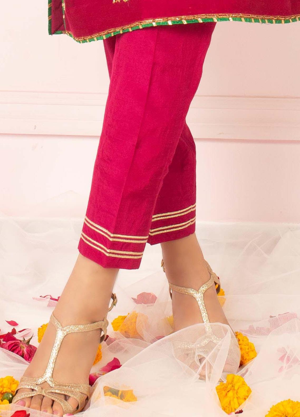 Zaaviay Fancy Raw Silk Stitched Trousers ZSC-034 MAGENTA RAW SILK TROUSER