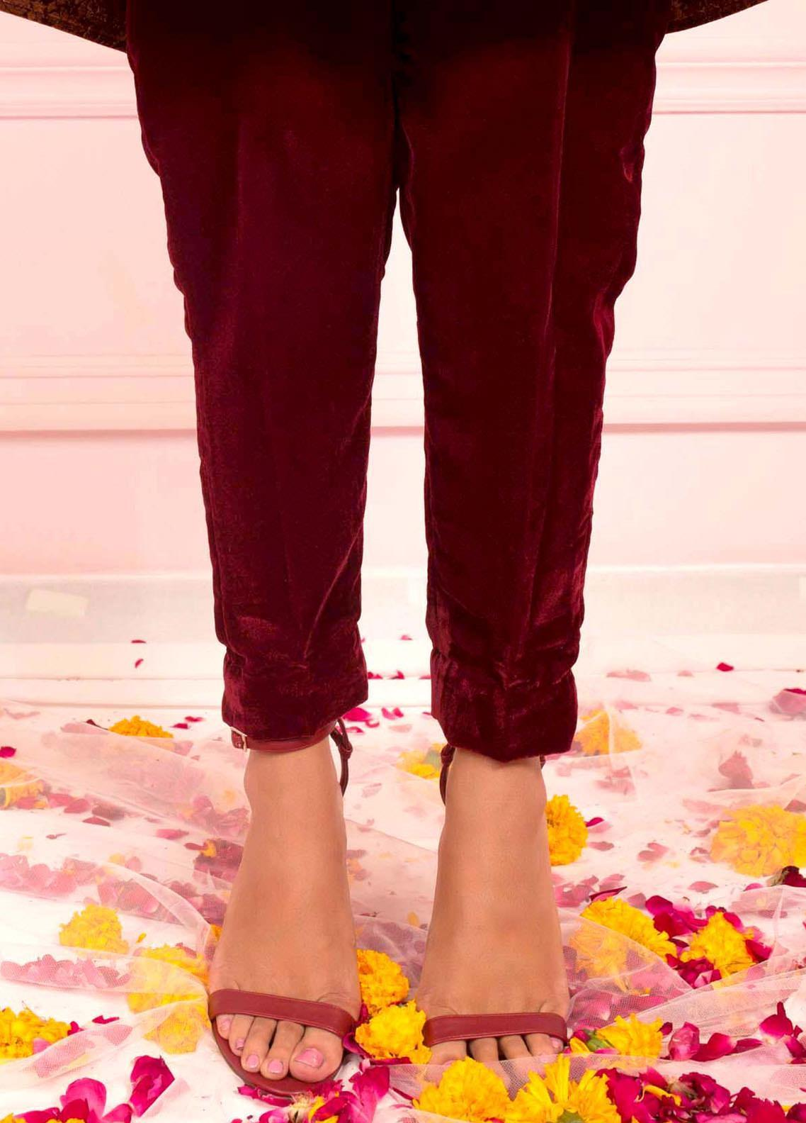 Zaaviay Fancy Velvet Stitched Trousers ZSC-036 MAROON VELVET TROUSER