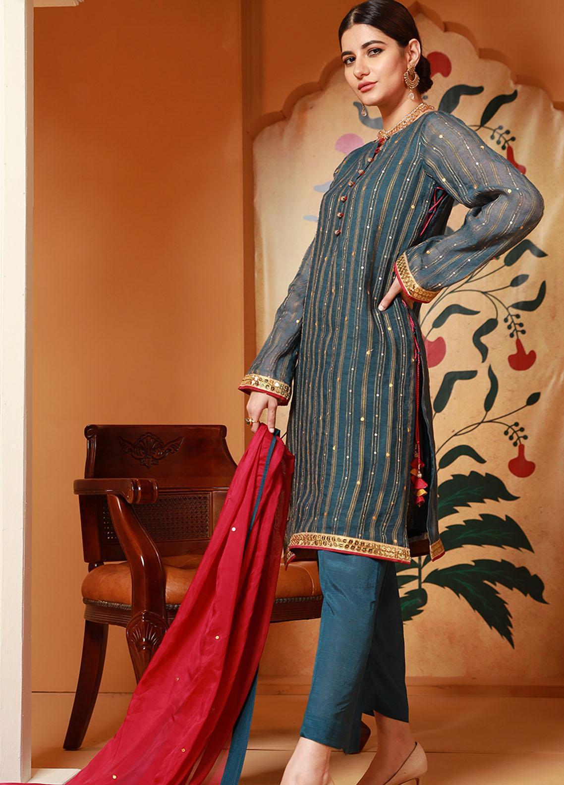 Zaaviay Luxury Pret Embroidered Cotton Net 3 Piece Dress Sassi