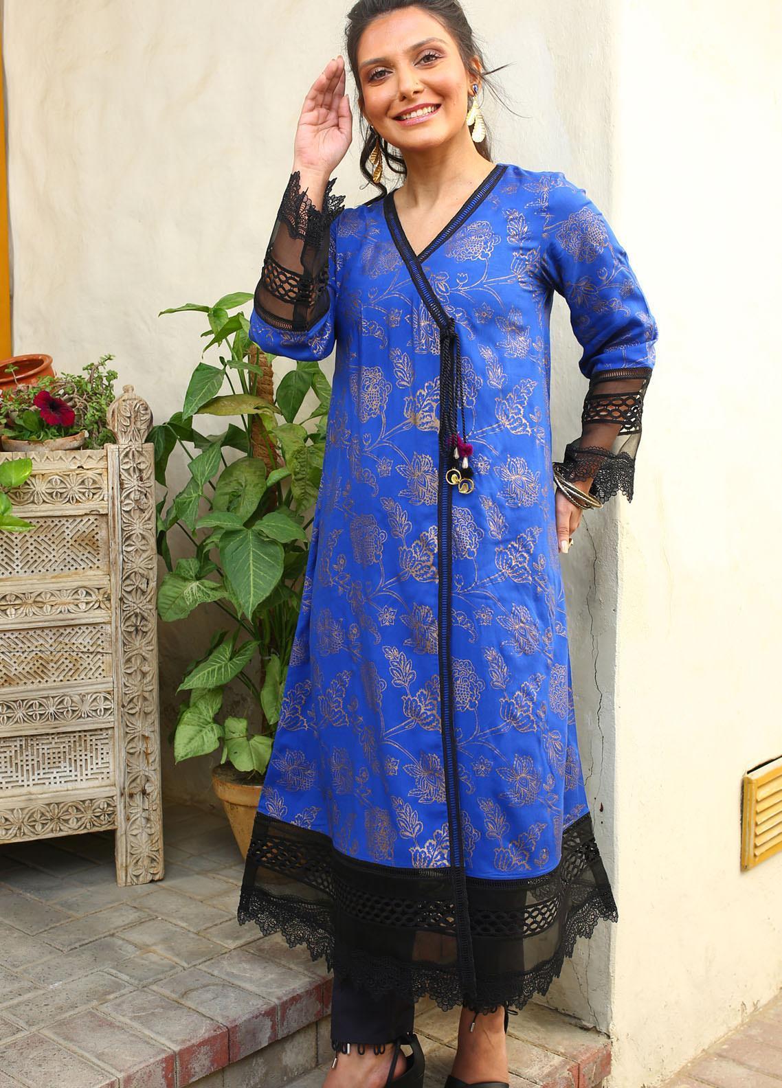 Zaaviay Embroidered Linen Stitched Kurtis Z20WP ZDC-003 BLUE BERRY