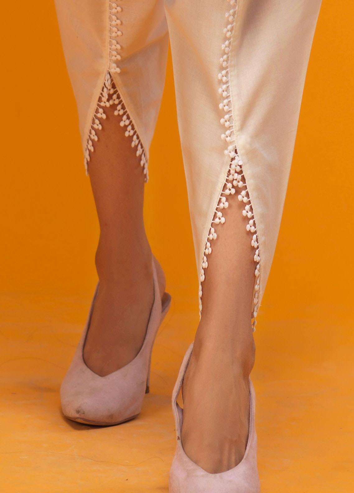 Zaaviay Fancy Cotton Stitched Trousers ZW20P ZPT-041 WHITE TULIP SHALWAR
