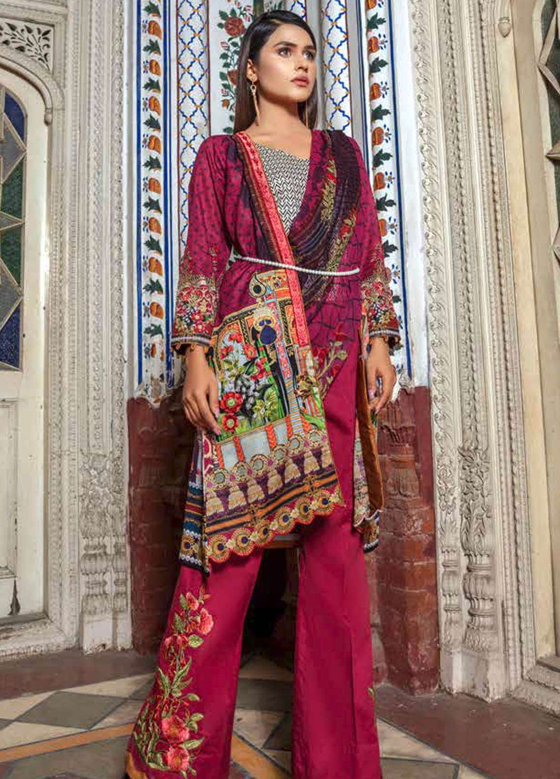 Zara Ali by Magns Textiles Embroidered Lawn Unstitched 3 Piece Suit ZRA19SL 3B - Spring / Summer Collection