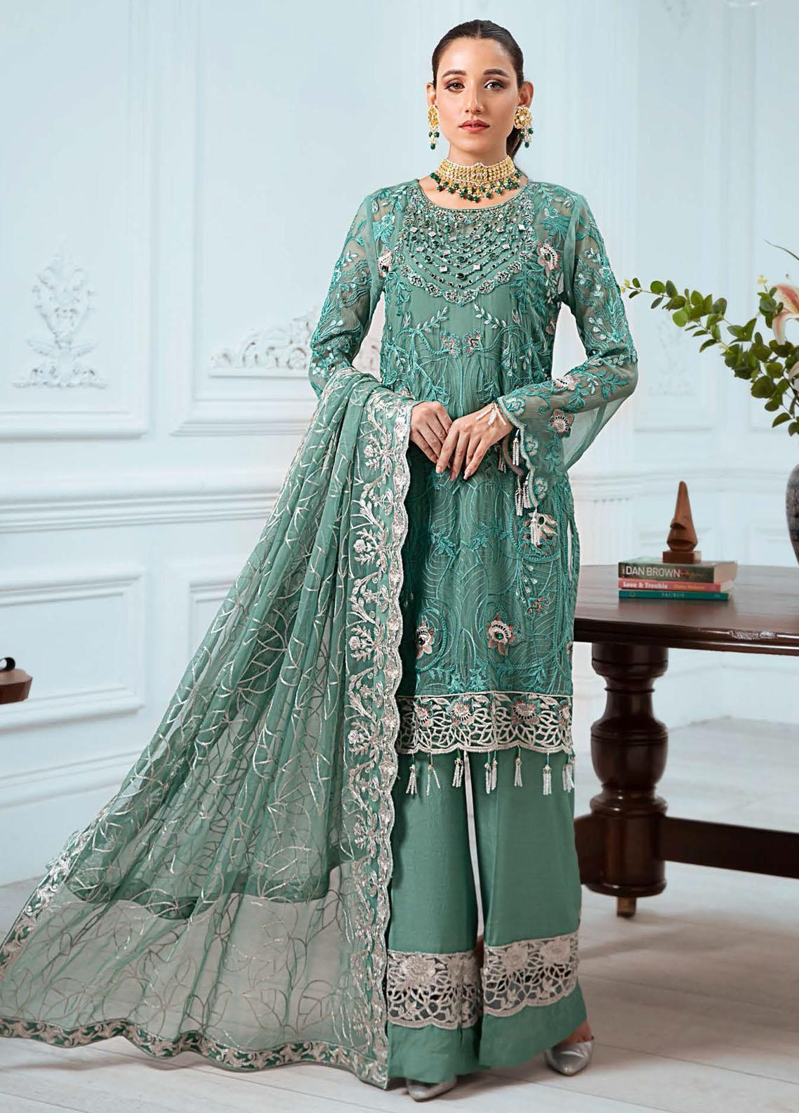 Zeenat by Zebtan Embroidered Chiffon Suits Unstitched 3 Piece ZBT21-6 ZN-01 - Luxury Collection