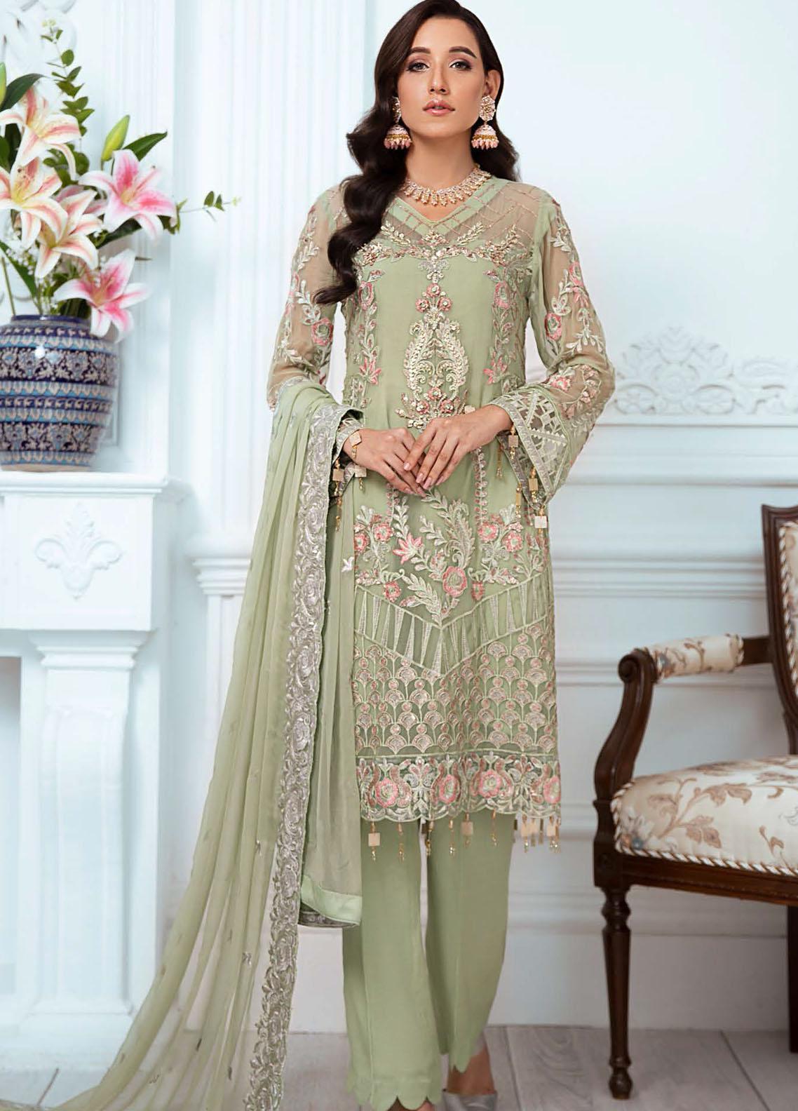 Zeenat by Zebtan Embroidered Chiffon Suits Unstitched 3 Piece ZBT21-6 ZN-06 - Luxury Collection