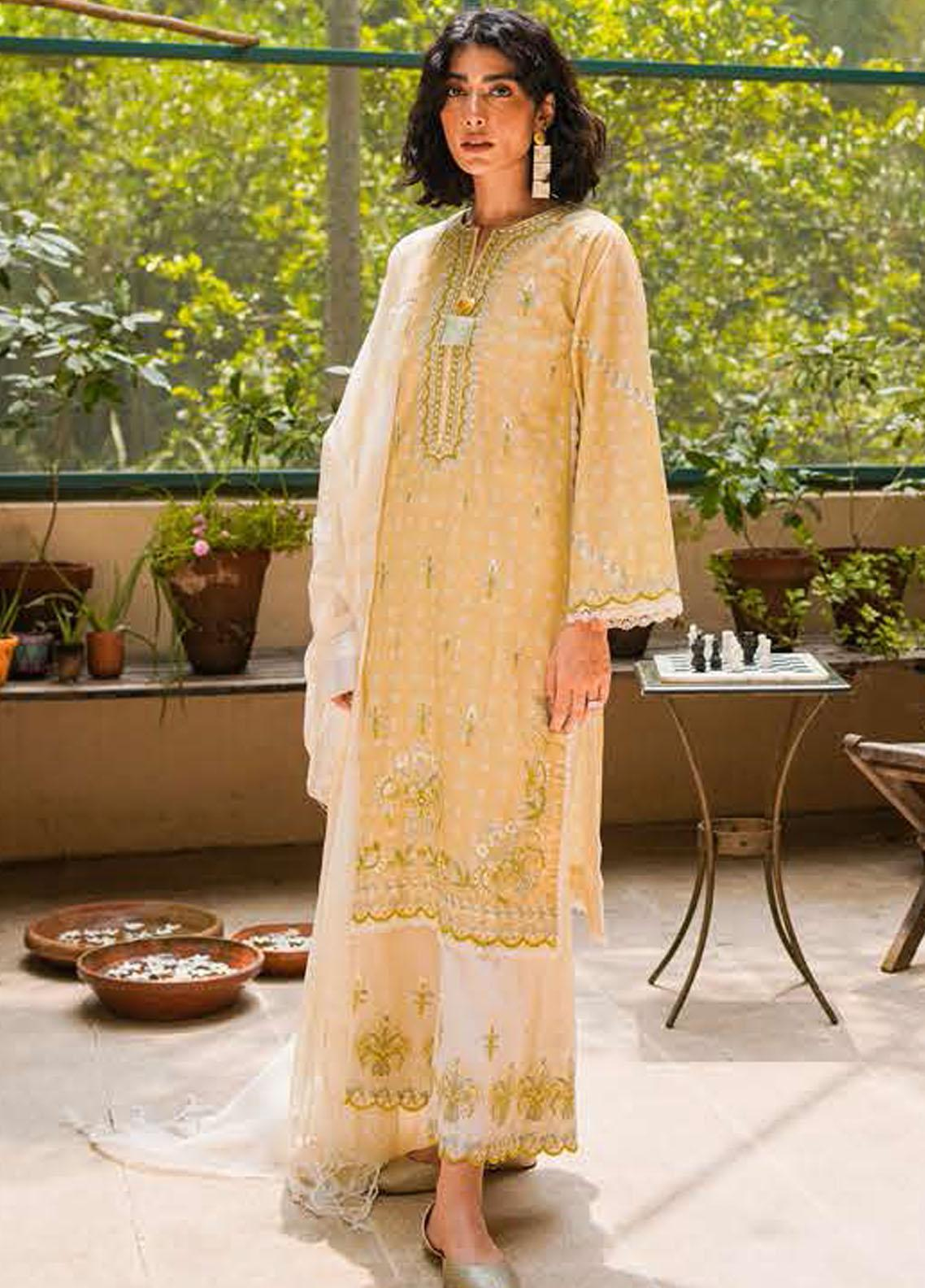 Zellbury Embroidered Cambric Suits Unstitched 3 Piece ZL21CB WUC21E30078 - Winter Collection