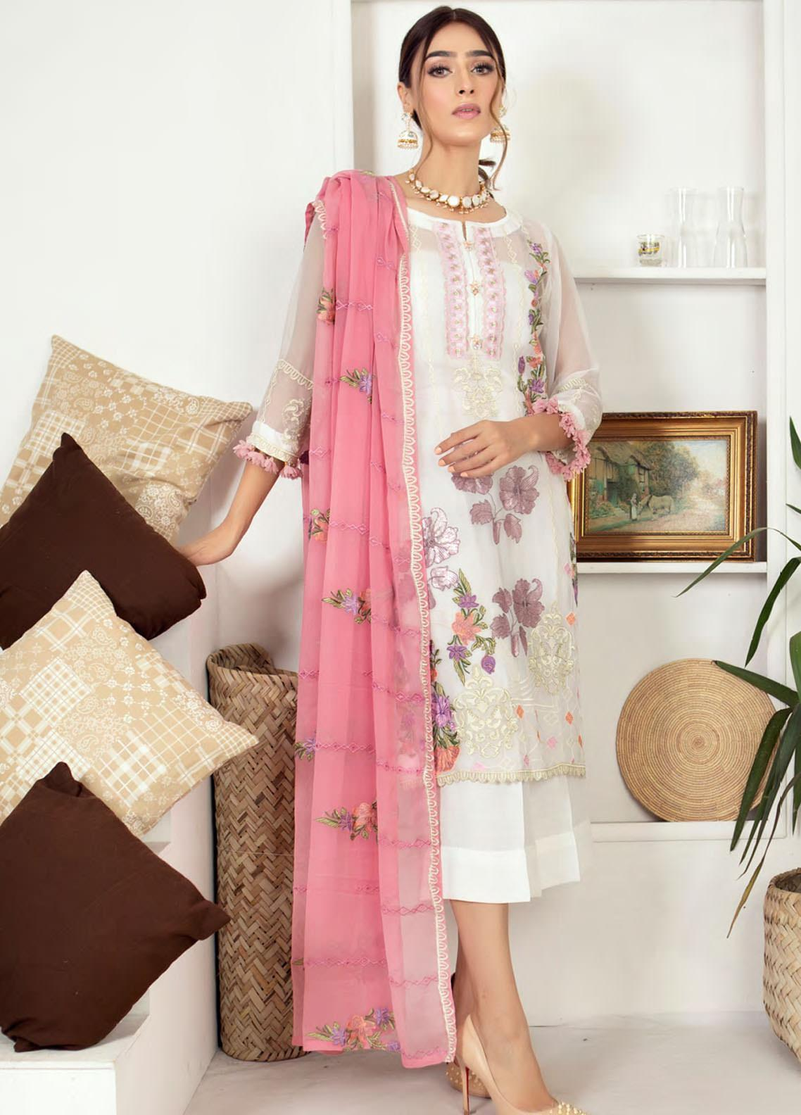 Zirwa by Febura Embroidered Chiffon Unstitched 3 Piece Suit FB20Z 09 - Luxury Collection