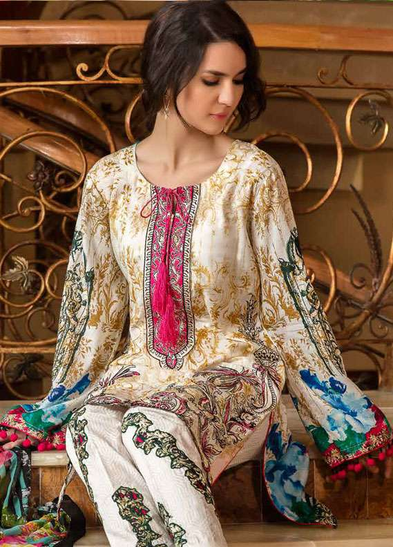 Zara Khan Embroidered Lawn Unstitched 3 Piece Suit ZK18L 3A - Spring Collection
