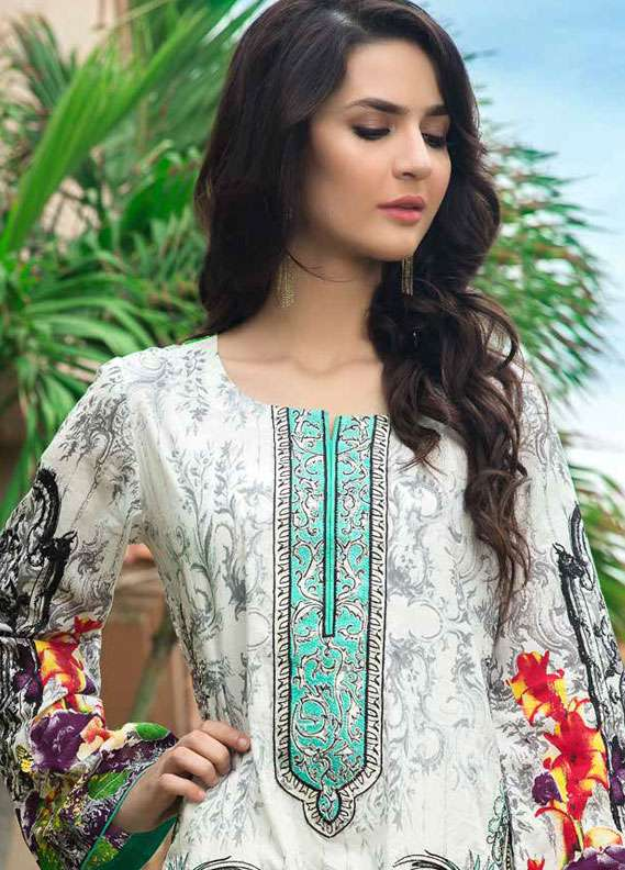 Zara Khan Embroidered Lawn Unstitched 3 Piece Suit ZK18L 3B - Spring Collection